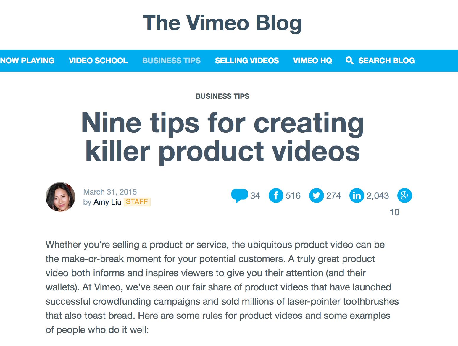 Killer Product Videos